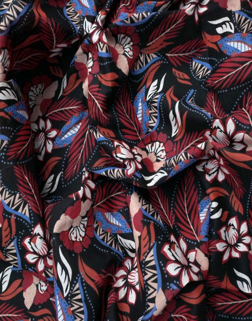 Red And Blue Floral Print On Cotton Voile 8464
