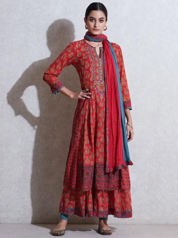 Ritu Kumar - Suit - Kurti - Sharara - red dress - fashion - charu creation blog - cotton fabric - chic - indian dresses - indian woman